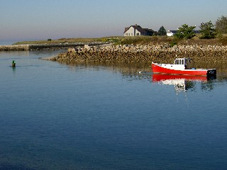 Little Red Boat on Kennebeck River Maine